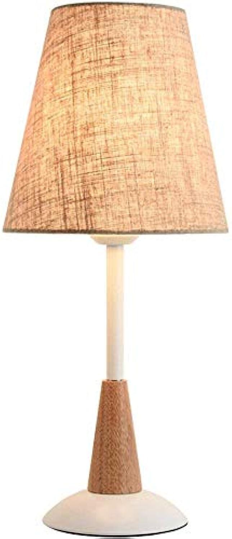 ZYSTYN Massivholz Tischlampe Schlafzimmer Nachttischlampe Schreibtischlampe, einfache Moderne europische E27-Fassung, Spannung 220 V (Gre  46  20 cm),Weiß