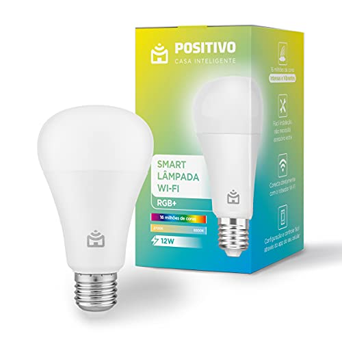Smart Lâmpada Wi-Fi RGB+ Positivo Casa Inteligente, branco quente e frio, cores mais vibrantes, 1.000 Lúmens, RGB, LED 12W Bivolt - Compatível com Alexa