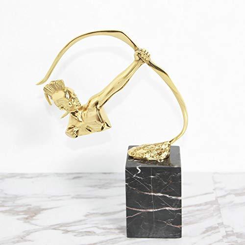MGWA Adornos modernos de lujo mármol decoración oficina porche sala de estar escultura tiro con arco figura de bronce decoración 12 * 10 * 21 cm (color: negro)