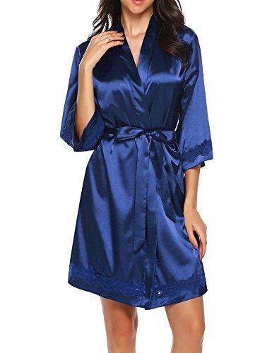 UNibelle Morgenmantel Damen Kimono Satin Bademantel Kurz Seide Roben Nachtwäsche V Ausschnitt Mit Blumenspitze Champagner-XXL