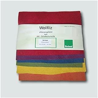 100% Sheeps Wool, Plant Dyed, Bioland Felt Sheets - 6 pcs assorted colors 15x20cm (6x7.8