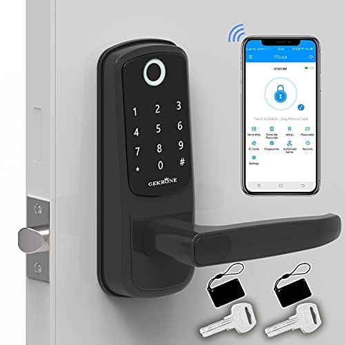 GEKRONE Smart Lock with Touchscreen, Bluetooth Electronic Deadbolt Door Lock Compatible with Fingerpint,App,Fobs,Passcodes,Keys,Alexa, Keyless Entry Keypad Lock with Handle GK-B07 (GK-B07)