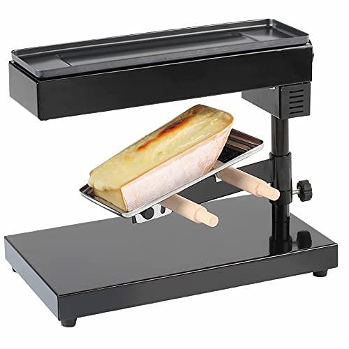 Käseschmelzer Raclettegrill Raclette Ofen für ein ganzes Stück Käse 6-8 Personen (Standgerät, 600 Watt, Höhe und Winkel einstellbar, Thermostat, Schwarz)