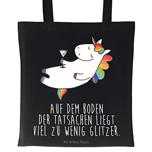 Mr. & Mrs. Panda Umhängetasche, Beutel, Tragetasche Einhorn Cocktail mit Spruch - Farbe Schwarz