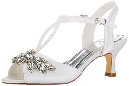 Emily Bridal Zapatos de Novia de Marfil Peep Toe Rhinestones Kitten Heel...