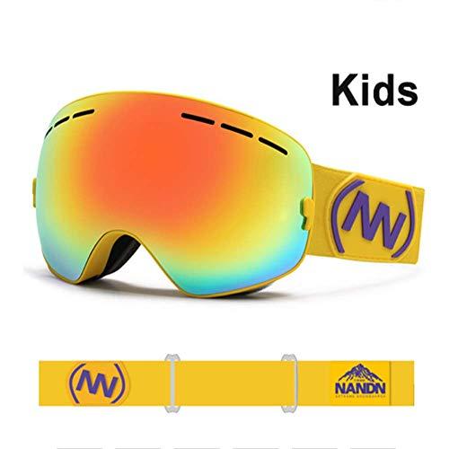 JayQm Kids Skibril, klein formaat voor kinderen Double UV400 Anti-Fog Mask Bril Skiën, Snowboard Goggles Meisjes Jongens