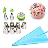 Cake Decorating Tips, Leaves Nozzles Stainless Steel Icing Piping Nozzles for Cake Decorating Pastry Fondant Tools