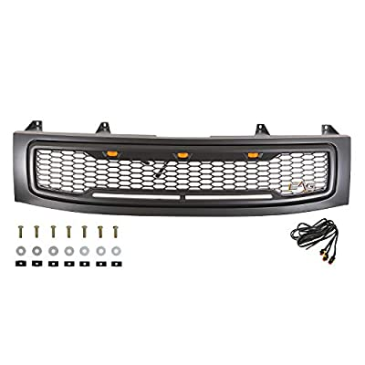 EAG Replacement Upper Grille ABS Front Hood Grill - Matte Black - with Amber LED Lights Fit for 04-07 Nissan Titan