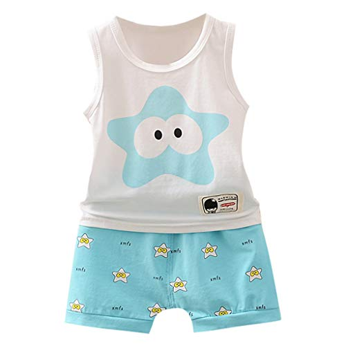 Jungen Mädchen Unisex KinderKleidung, Yanhoo Baby Kind Cartoon Kurzarm Weste Shirt Shorts Outfits Ärmellos Cartoon Starfish Print Set Unisex Kurze Sommershorts