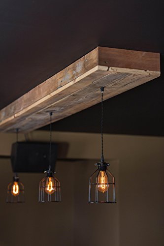 Reclaimed Barn Wood Siding Fixture with Caged Edison Bulbs - Rustic Lighting for Home/Restaurant/Bar