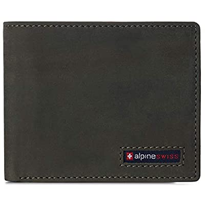 Alpine Swiss Mens RFID Safe Wallet Bifold Passcase Cowhide Leather Billfold Comes in Gift Box Olive
