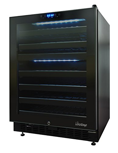 Vinotemp 46 Bottle Dual-Zone Touch Screen Wine Cooler, Black
