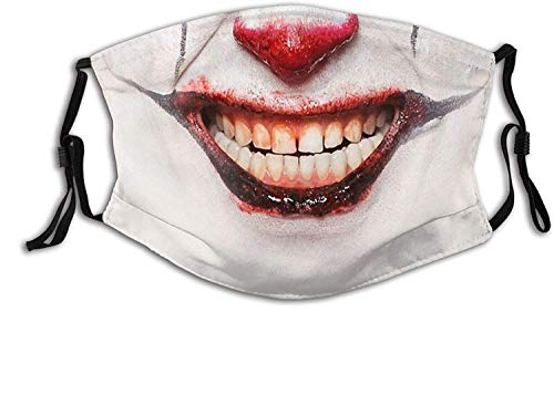 St. Patrick's Day Easter scary masks disposable made in usa balaclava Clown Smile Face Mask Unisex Balaclava Mouth Cover With Filter Windproof Dustproof Adjustable Mask-Clown Evil Smile1