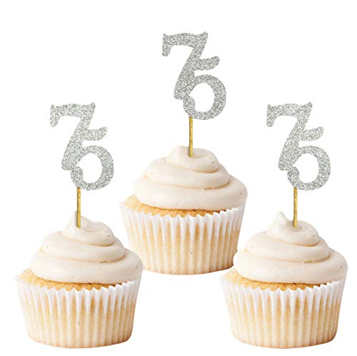 Silver Number 75 Cupcake Toppers