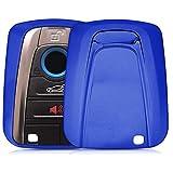 kwmobile Funda Compatible con BMW Llave de Coche Smart Key de 4 Botones - Carcasa Suave de TPU - Cover de Mando y Control de Auto en Azul Brillante