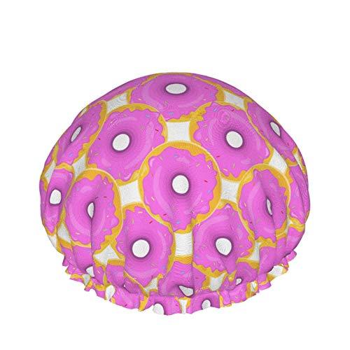 Gorros de ducha de chocolate rosa con diseño de piruletas y caramelos, reutilizables, de doble capa, impermeable, gorro de ducha suave