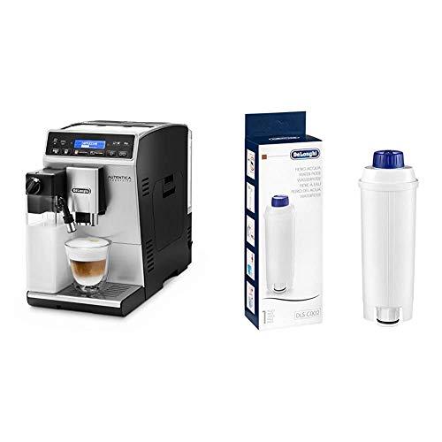 De'Longhi Autentica Cappuccino ETAM 29.660.SB Kaffeevollautomat mit Milchsystem, silber & Original Wasserfilter DLSC002 - Zubehör für De'Longhi Kaffeevollautomaten, für die Pflege der Maschine, weiß