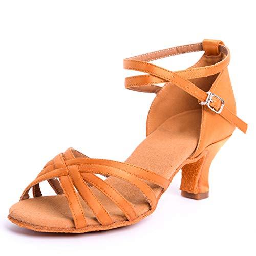 DoGeek-Zapatos de Baile Lat¨ªn Zapatos Latinos de Sat¨ªn Ni?as Zapatos Latinos Mujer para Ni?os/Ni?as y Principiantes(TAC¨n 6cm)
