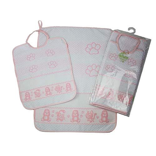 Babero con elástico para bordar HUELLA Babero grande de rizo 28 x 32 cm, para comida y guardería, con tela Aida para bordar el nombre a punto de cruz, algodón, (rosa)