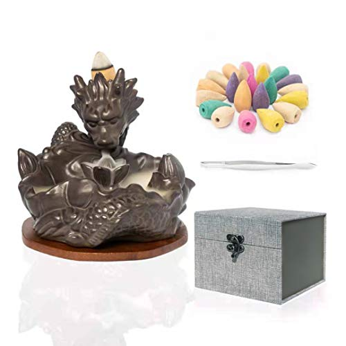 Ayoumei Ceramic Dragon backflow Incense Burner Dragon Cone, Waterfall Incense Fountain Burner Smoke insence Waterfall Holder for Home Decor Aromatherapy Relaxation Box Package