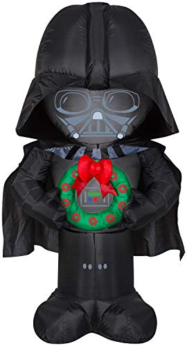 Gemmy Star Wars Christmas Inflatable Darth Vader with Wreath 5FT Tall Indoor/Outdoor Holiday Decoration