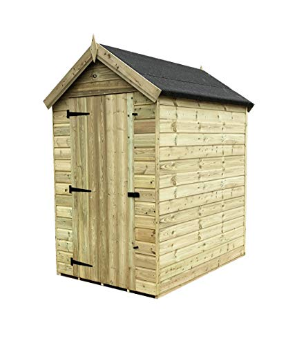 iLikeSheds 6 x 4 Premier Windowless Pressure Treated Tongue And Groove Apex Shed With Higher Eaves And Ridge Height And Single Door