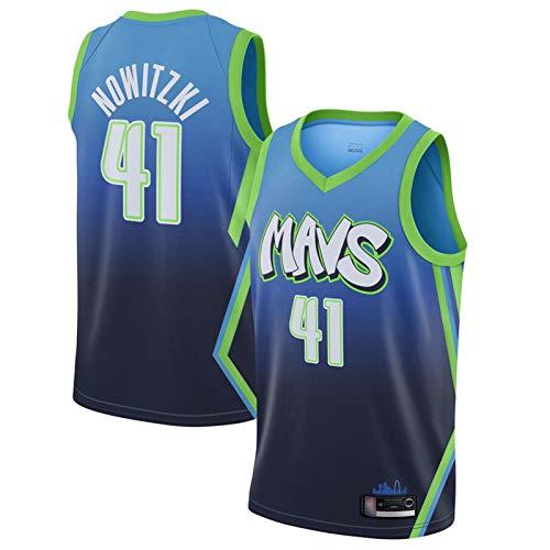 XZDM Herren Dallas Mavericks # 41 Dirk Nowitzki Trikot, Unisex Retro Basketball Uniform, Stickerei Atmungsaktives Shirt Ärmelloses Fan T-Shirt Blue 1-XL