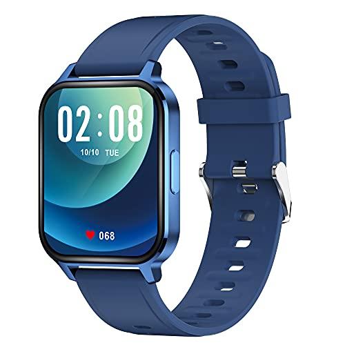 WSJZ Reloj Inteligente para Hombres/Mujeres,Pantalla Táctil Completa con Reloj Inteligente De 24 Modos Deportivos,Rastreador De Actividad,Pulsera Inteligente para Teléfono Android/iOS,Azul