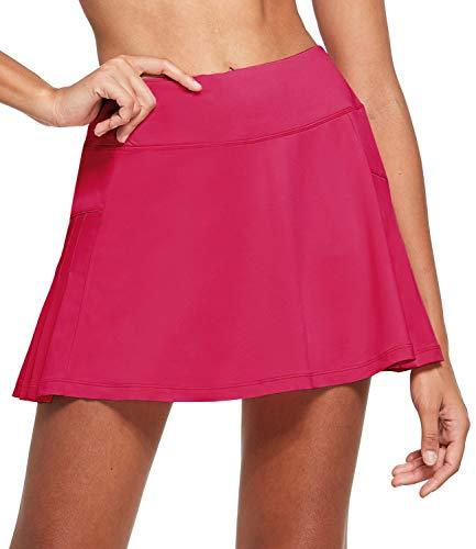 BALEAF Women's Athletic Pleated Tennis Skirts with Mesh Shorts Ruffle Running Golf Yoga Skorts Ball Pockets Miniskirt Rose Pink M