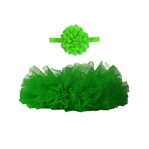 Angla 2pcs Flower Headband Tutu Skirt for Newborn Baby Girl Toddlers Infant 0-12 Months (Green), Medium