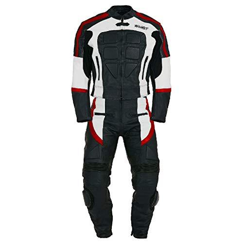 WinNet Tuta divisibile di pelle da moto giacca e pantaloni separabili in 2 pezzi (M, ROSSO)