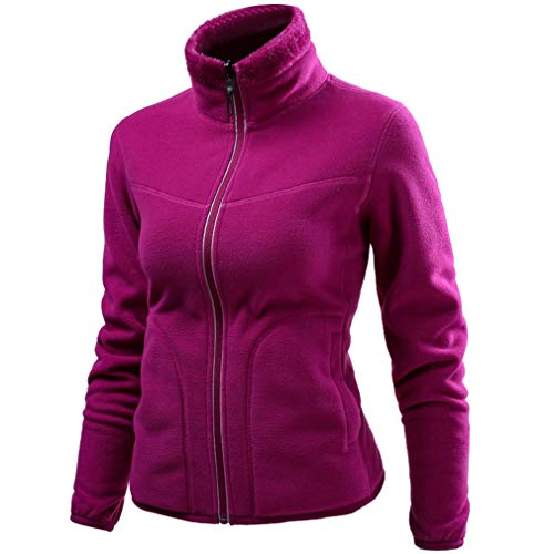 CIKRILAN Women's Reversible Thermal Fleece Jacket Full Zip Long Sleeve Bodywarmer Coat Outdoor Polar Fleece Jacket(XL, Purple)