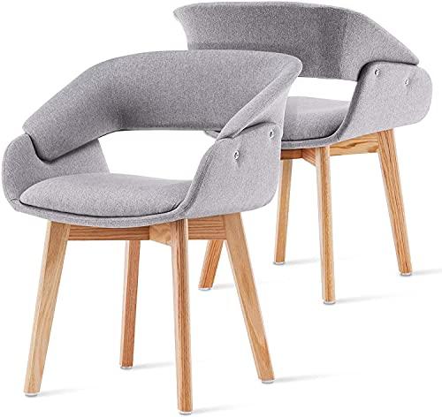 Soayone Juego de 2 sillas Decorativas para Sala de Estar, Dormitorio, Restaurante con Patas de Madera Dining Chair (Gris)