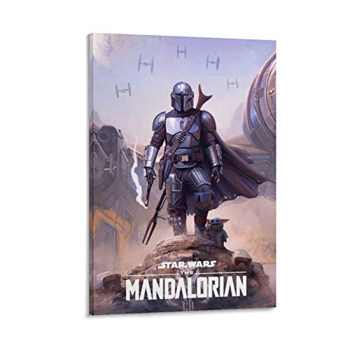 Ghychk Poster, Motiv: The Child Mandalorian und Mando, Star Wars, HD-Film-Kunst, 3D-Gemälde auf Leinwand, für Zuhause, Zimmer, Büro, Wanddekoration, fertig zum Aufhängen, 40 x 60 cm