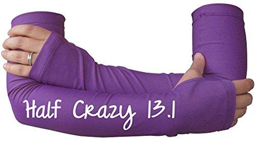 Women Running Arm Warmer - Runner's Sleeves with Compression - Half Marathon - 13.1 Purple