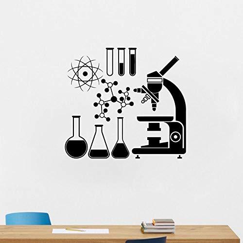 KBIASD Microscopio vinilo adhesivo para pared laboratorio pared arte Mural calcomanías decoración del hogar decoración de pared diseño moderno pegatina de pared 58 X 64 CM