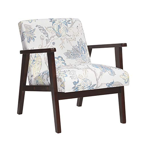 SONGMICS Leisure Chair with Solid Wood Armrest and Feet, Mid-Century Modern Accent Sofa, for Living Room Bedroom Studio, Floral White