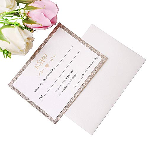 PONATIA 25 Pieces/Pack Gold Glitter Printed RSVP Cards with Envelopes