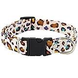 Hunde- und Katzenhalsband mit Sicherheitsschnalle, Leoparden- und USA-Flaggen-Design, für...