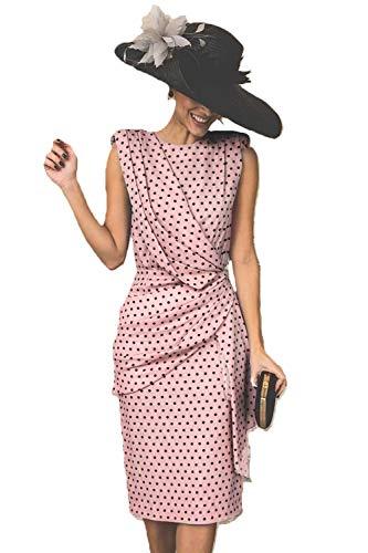 Vestido De Cóctel Lunares Sin Mangas Elegantes Vintage Verano Lápiz Vestidos De Fiesta Mujer Cortos Rosa M