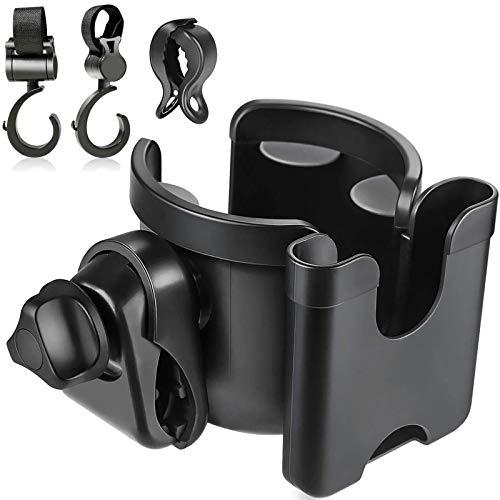 TOGOTTAI Portavasos para Cochecito Portavasos 2 en 1 para cochecito con portavasos para teléfono celular Portavasos con dos ganchos y clips para cochecitos, bicicletas, sillas de ruedas