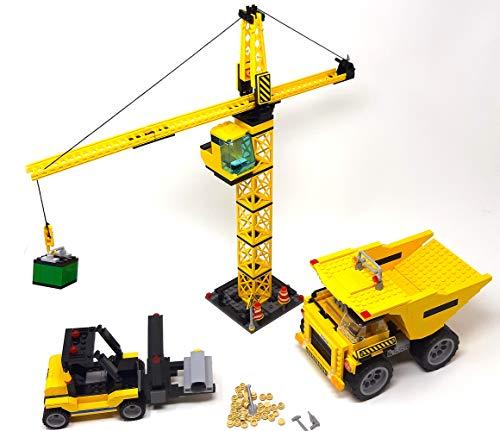 Modbrix Bausteine Kran, Stapler und Kipplaster, Baustellen Set, 804 Klemmbausteine