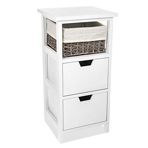 Fineway. Diana Elegant Wooden Bedside Cabinet Unit Table with 1 Wicker Basket & 2 Drawers Storage Bathroom Organiser Grey Fully Assembled (Double Drawer W Wicker Basket)