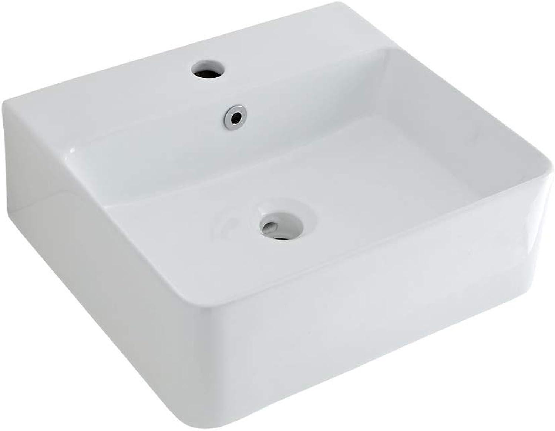 Milano Farington - Wall Hung Counter Top White Ceramic Basin with Razor Mixer Sink Tap