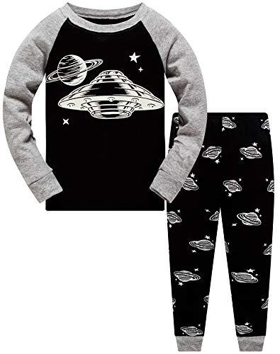 Jungen Zweiteiliger Schlafanzug Im Dunkeln leuchten UFO Langarm Pyjamas Kinder Schlafanzug Winter Nachtwäsche Weihnachten Pyjama Baby Junge Pyjama 140 (Dark UFO-6232 10T)