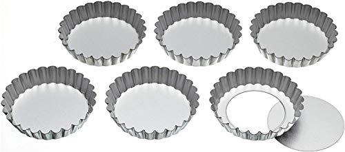 KitchenCraft Boîtes à Tartelettes Cannelées en Aluminium avec Bases Lâches, 10 cm (Lot de 6)