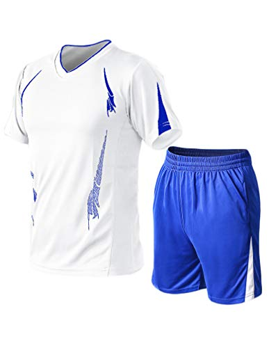 Lavnis Mens Casual Tracksuit Short Sleeve Running Jogging Athletic Sports T Shirts and Shorts Suit Set white Large