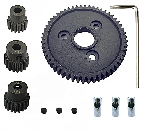 HOPLEX Metal Steel 54T 0.8 32 Pitch 3956 Spur Gear with 15T/17T/19T Pinions Gear Sets for Traxxas Slash 4x4 4WD/2WD VXL Rally VXL Stampede 4x4 Traxxas 1/10 Summit Trxxas 1/10 E-REVO