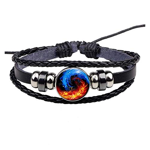 XPWOZ Woven black glass dome beads men's bracelet (Color : Antique Copper Plated)