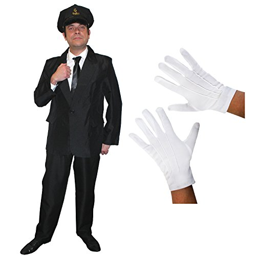 I LOVE FANCY DRESS LTD Chauffeur Limo Fahrer=KOSTÜM VERKLEIDUNGS Set=Schwarze MÜTZE Aufschrift =CC Chauffeurs Club+Schwarze Krawatte+Weisse Handschuhe +SCHWARZER Hosenanzug-4 GRÖSSEN=XLarge
